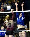 Gardiner's Hannah Dean blocks a spike