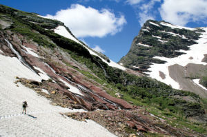Gunsight Pass: Cross Continental Divide on Glacier trail