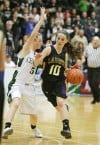 Jayde LeFevre of Laurel dribbles against Mariah Wittman