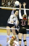 Bailie Cortner of Red Lodge hits a ball