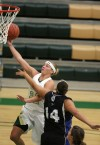 Austin Hanser of Rocky Mountain College attempts a layup