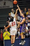 Laurel's David Swecker puts up a one-handed shot
