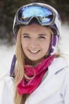 Brooke Nisley stops in between snowboarding