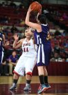 Hays Lodgepole's Shania Doney passes over St. Stephens's Sholina Noseep