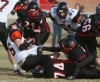 Plentywood's  Jackson Marsh, 86, falls into the end zone