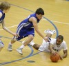 Skyview's Matt Fuhrman goes after a loose ball with Shyke Smalls