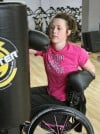 Taylor Sheehan practices her punches at Pink Gloves