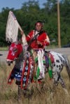 A rider in Saturday's morning Crow Fair Parade