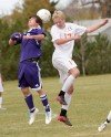 Senior's Colin Gregory, 17, and Butte's Cullen Sehulster, 8, battle for the header