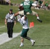 Rocky Mountain College wide receiver Andre McCullouch gets up in the air