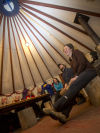 Hanging out in the dining yurt