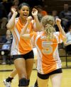 Taylor Mims and Lizzy King celebrate a kill