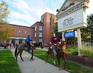 Students bring horses to school on Western Day