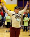 A Special Olympics athlete gets the crowd involved