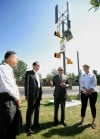 Japanese firm unveils solar and wind powerd traffic signal manufactured in Billings