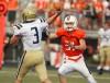 Brennan Nielsen of Senior pressures Big Sky quarterback Jesson Preston