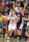 Becca Shipp of Central is defended by Laurel's Dalayna Christenson