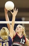 Red Lodge's Elli Hellerud, left, and Huntley Project's BrieAnna Geck vie for a ball