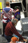 Travelers line up to go through TSA security