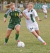 Central's Mariah Wittman, 24, and Whitefish's Sara Craven, 16, battle for the ball