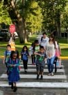 Kids and parents walk to school