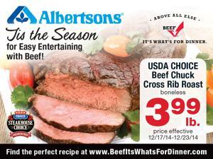 USDA CHOICE Beef Chuck Cross Rib Roast boneless $3.99/lb.  Albertsons and Montana Beef It's What's For Dinner