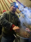 Arden Bailey prepares yurt chicken