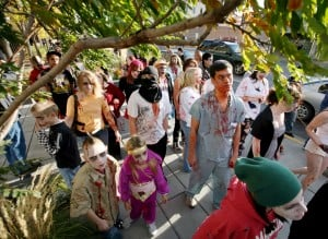 Zombies, protesters take over downtown