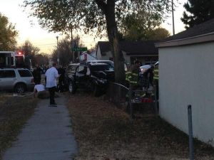 Pedestrian injured in multi-vehicle accident