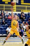 MSUB's Kayleen Goggins leaps for a lay-up