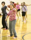 Hannah Rogers dances with the junior varsity team