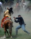 A Seventh Cavalry soldier fights