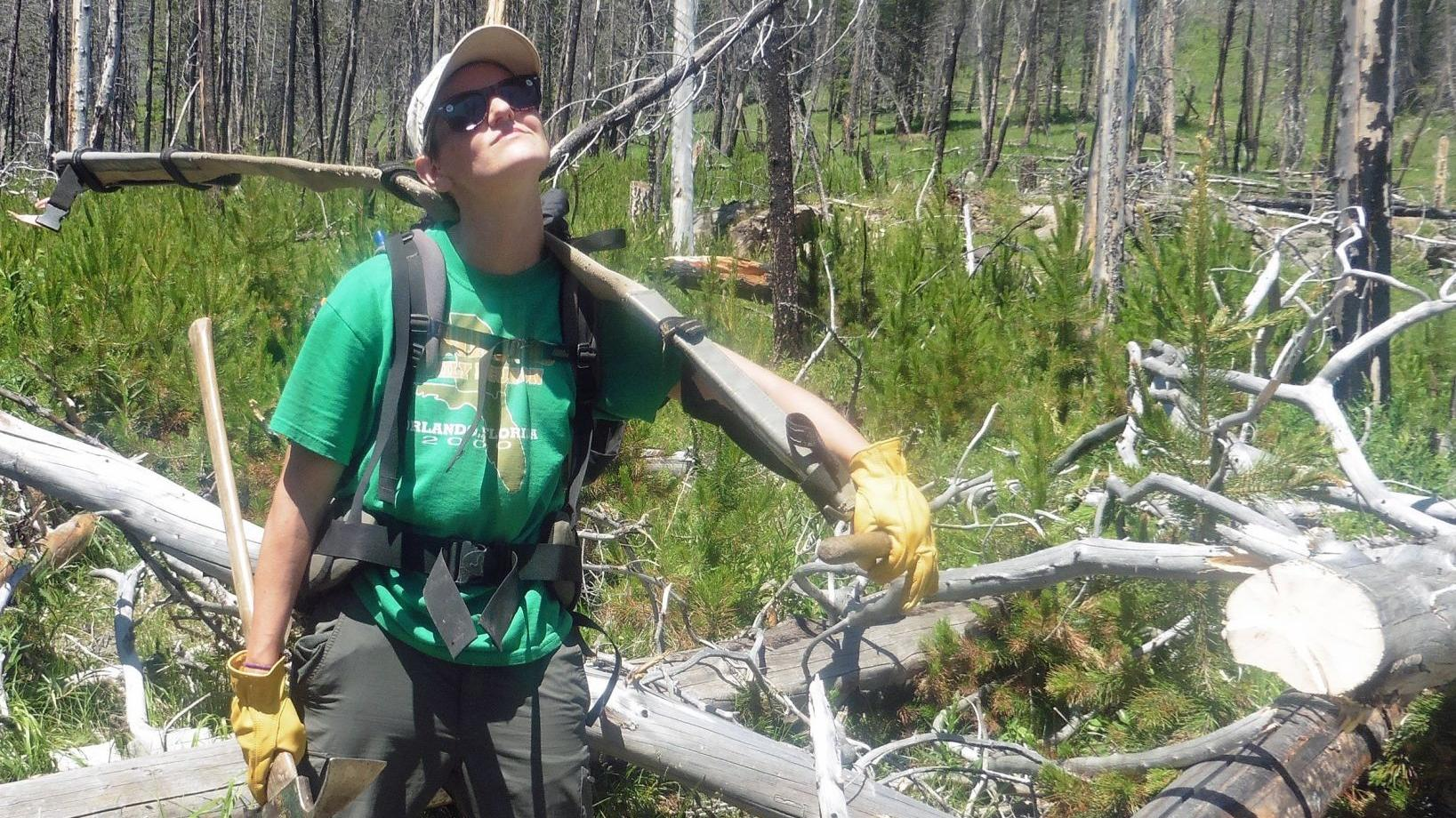 Girl Scouts clear trail as part of wilderness foundation work
