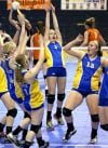 Wibaux players celebrate after winning a point