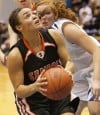 Senior's Rachel Koehler, 25, looks to score