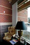 The exterior brick facade