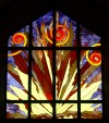 A colorful piece of stained glass