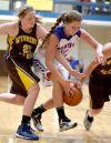 Wyoming's Ashlie Blackburn and Fairfield's Lizzy Klinker