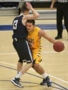 MSUB's David Arnold, 13, drives with the ball