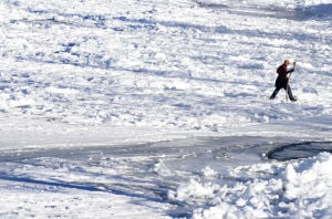 Floe, frazil ice decorate Clark Fork River in downtown Missoula