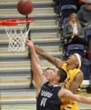 MSUB's Sam Johnson, 23, shoots the ball