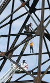 Rappel rescue: Firefighters help stranded worker off headframe