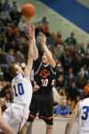 Danny Desin of Billings Senior attempts a shot over Dallin Stott