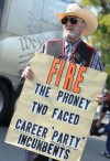 A Tea Party supporter expresses his sentiment