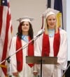 Co-valedictorians Samantha Albrecht and BrieAnna Geck
