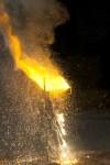 Thermite erupts into molten iron