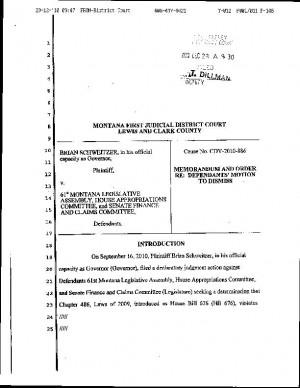 Judge dismisses Schweitzer's suit against Legislature