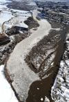 Ice jams on the Yellowstone River
