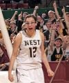 West's Paige Vinger (12) reacts