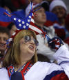 A USA hockey fan cheers